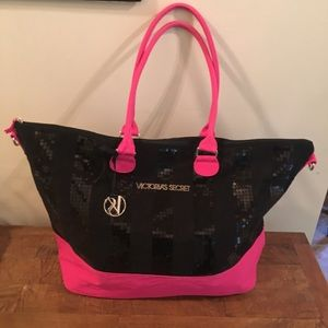 XL Victoria's Secret Hot Pink And Black Tote